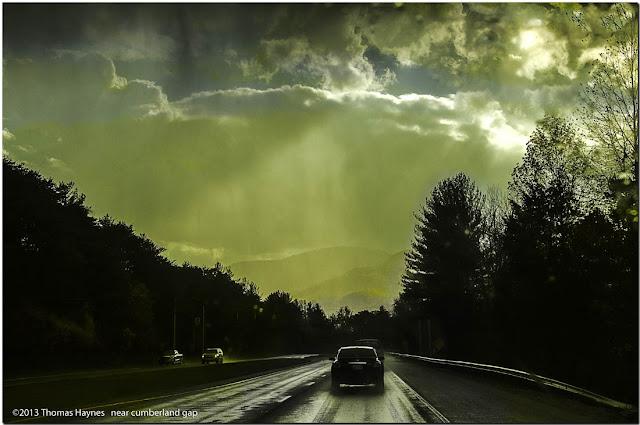 dark highway, rainy driving scene