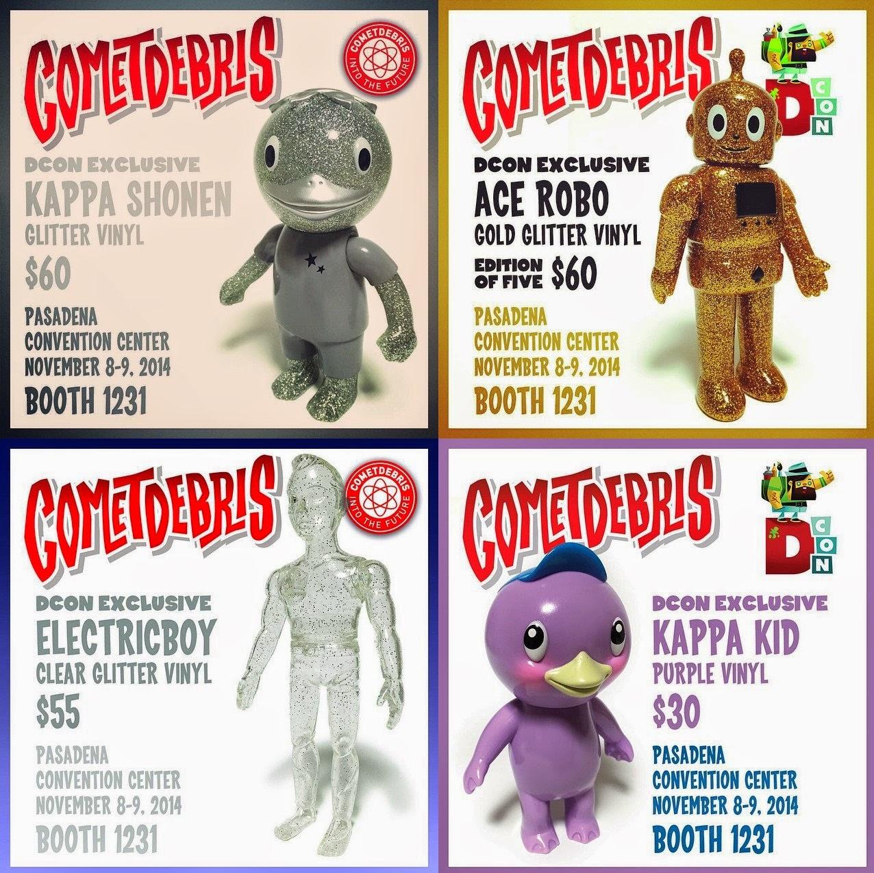 Designer Con 2014 Exclusive Glitter Kappa Shonen, Gold Glitter Ace Robo, Clear Glitter Electricboy & Purple Kappa Kid Vinyl Figures by Cometdebris