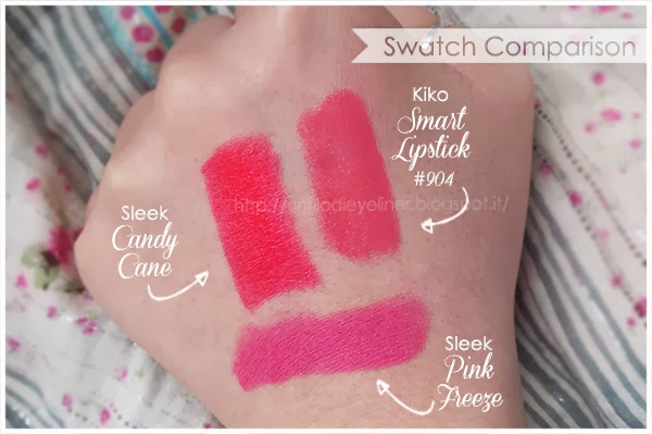 swatch sleek candy cane + 904 kiko + pink freeze