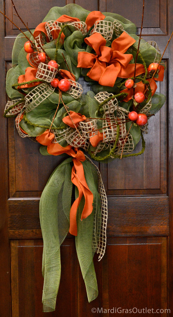 Fall Deco Mesh, Fall Wreath, DIY, Video Tutorial, Harvest, Autumn Craft, Poly Deco Mesh
