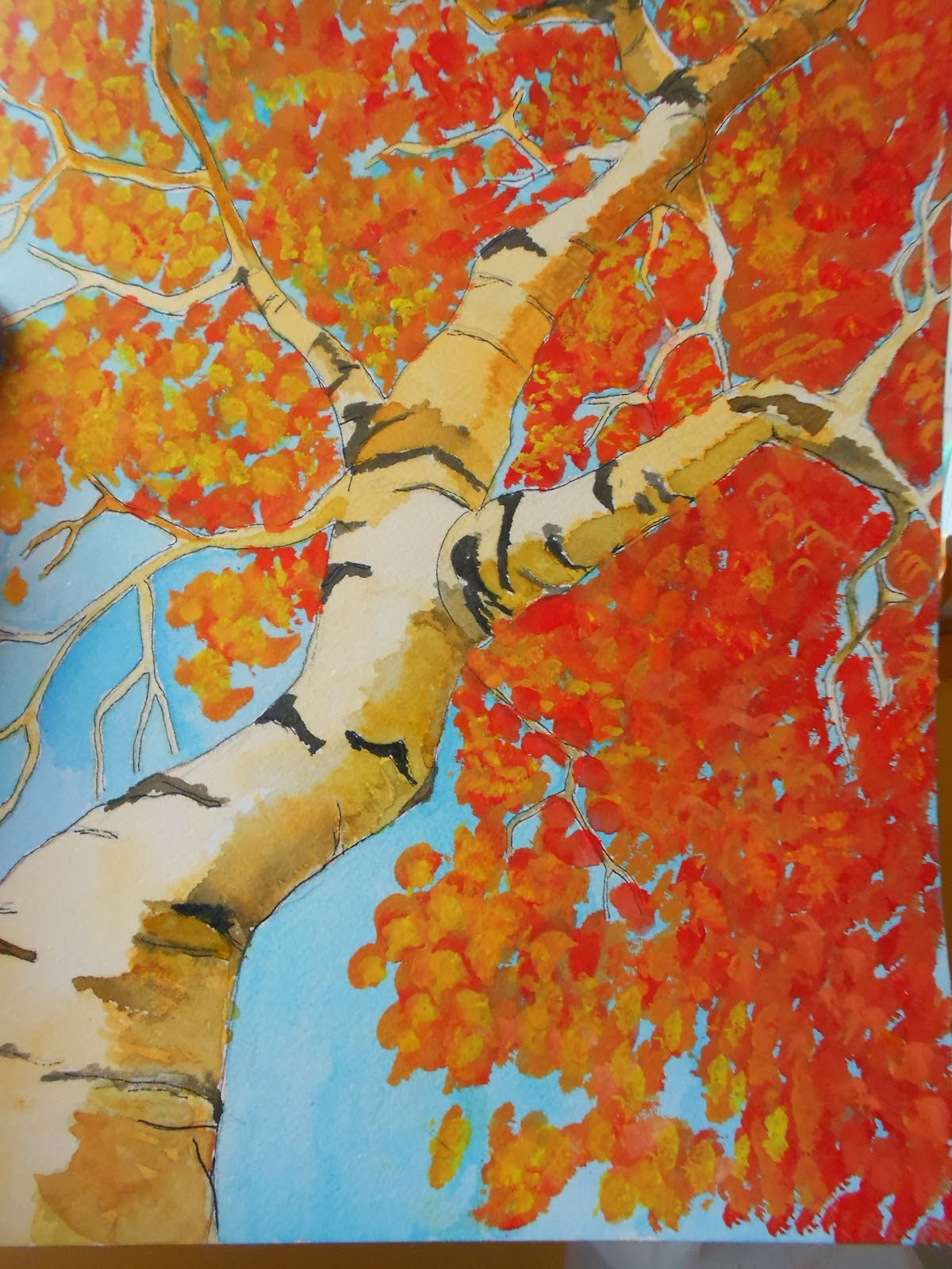 Autumn landscape art project ideas artmuse67 for Fall paintings easy