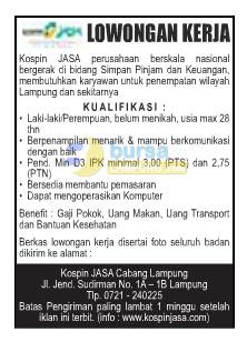 Lowongan Kerja Kospin Jasa Lampung