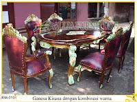 Meja dan Kursi Makan dengan kombinasi warna Ukiran Kayu Jati Ganesa Kirana