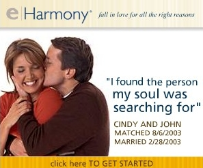 eHarmony ad with couple describing meeting their soul mate through the service