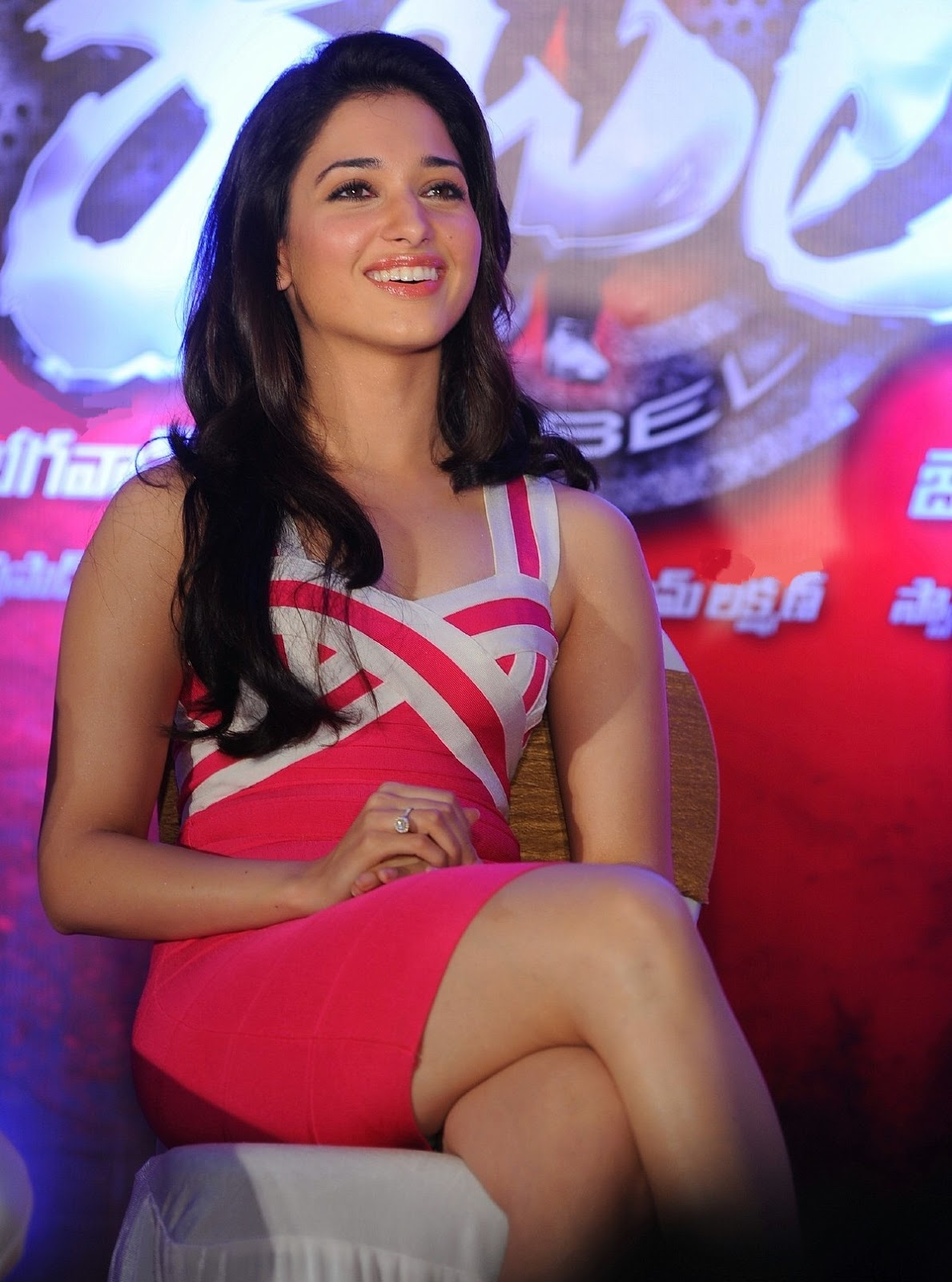 Tamanna Bhatia Looks Stunningly Sexy In Pink Skirt At Telugu Film 'Rebel' Trailer Launch