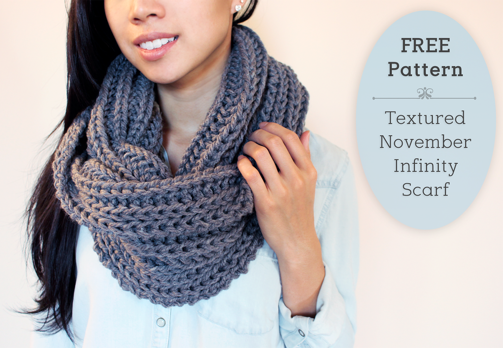 Purllin: Textured November Infinity Scarf Free Pattern