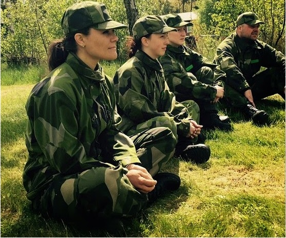Crown Princess Victoria of Sweden participated in voluntary military exercises at Berga on May 23, 2015 in Stockholm, Sweden.