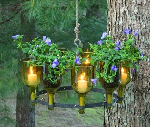 Recycled Wine Bottle Garden Chandelier