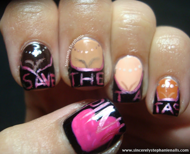 breast cancer nail art