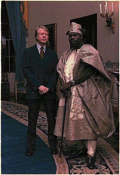 Chief Olusegun in the White House with Jimmy Carter in 1978 (Photo)