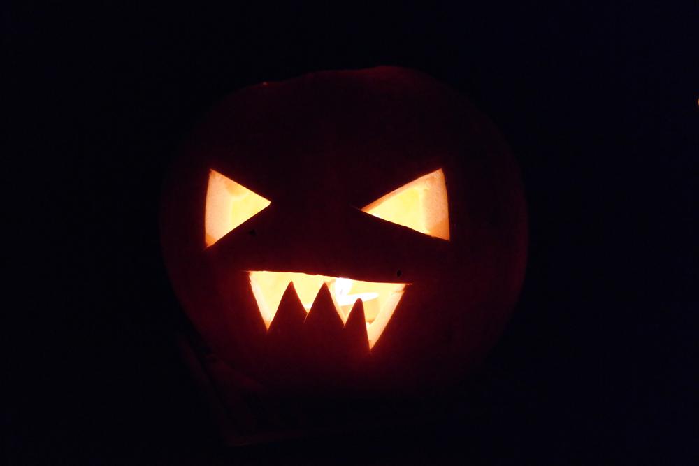 Glowing pumpkin lantern
