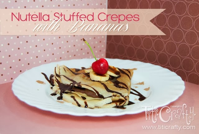nutella stuffed crepes with bananas