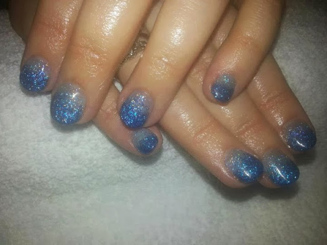 acrylic overlay with blue glitz and silver haze nails art design