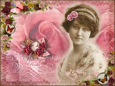 fondo vintage con foto de dama y rosas