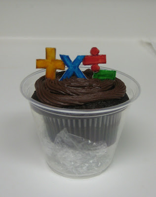 Teacher Appreciation School Subject Themed Cupcakes - Close Up of Math Cupcake with Math Symbols Fondant Topper