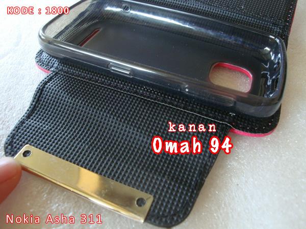 Jual Wallet Book Leather Case Nokia Asha N 311 Merah Hati (Pink)