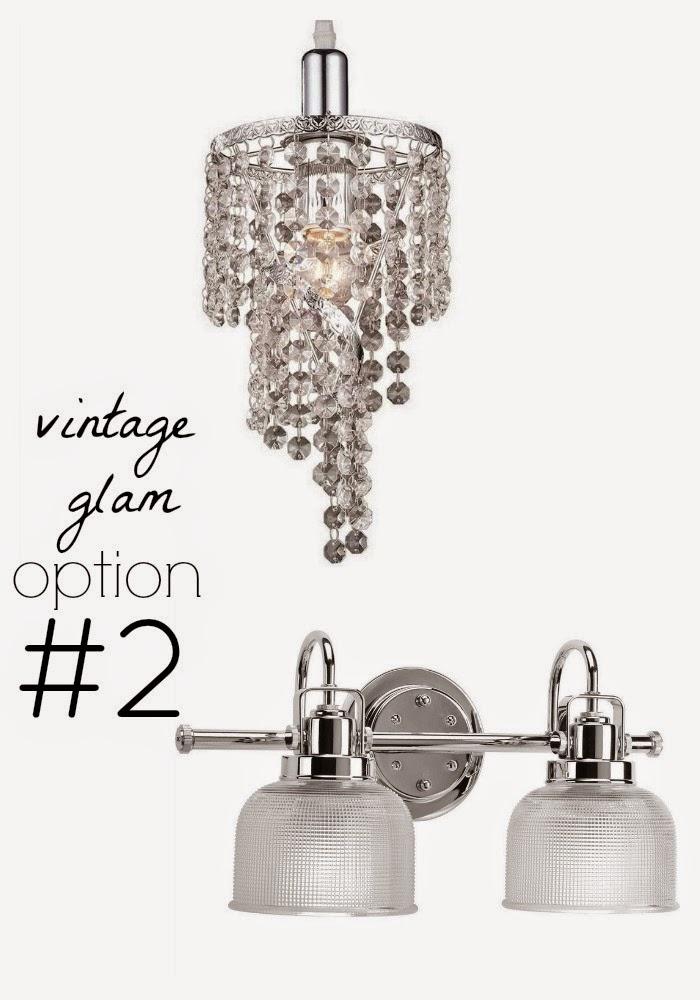 vintage glam powder bathroom lighting