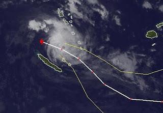 Tropischer Zyklon JASMINE als Major Hurricane zwischen Vanuatu und Neukaledonien, Jasmine, aktuell, Februar, 2012, Satellitenbild Satellitenbilder, Pazifik, Verlauf, major hurricane, Vorhersage Forecast Prognose,