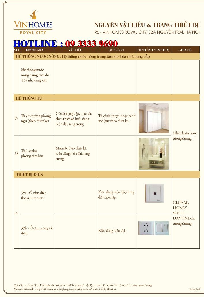 Bảng nguyên vật liệu căn hộ hạng sang Royal City R6 - Trang 7