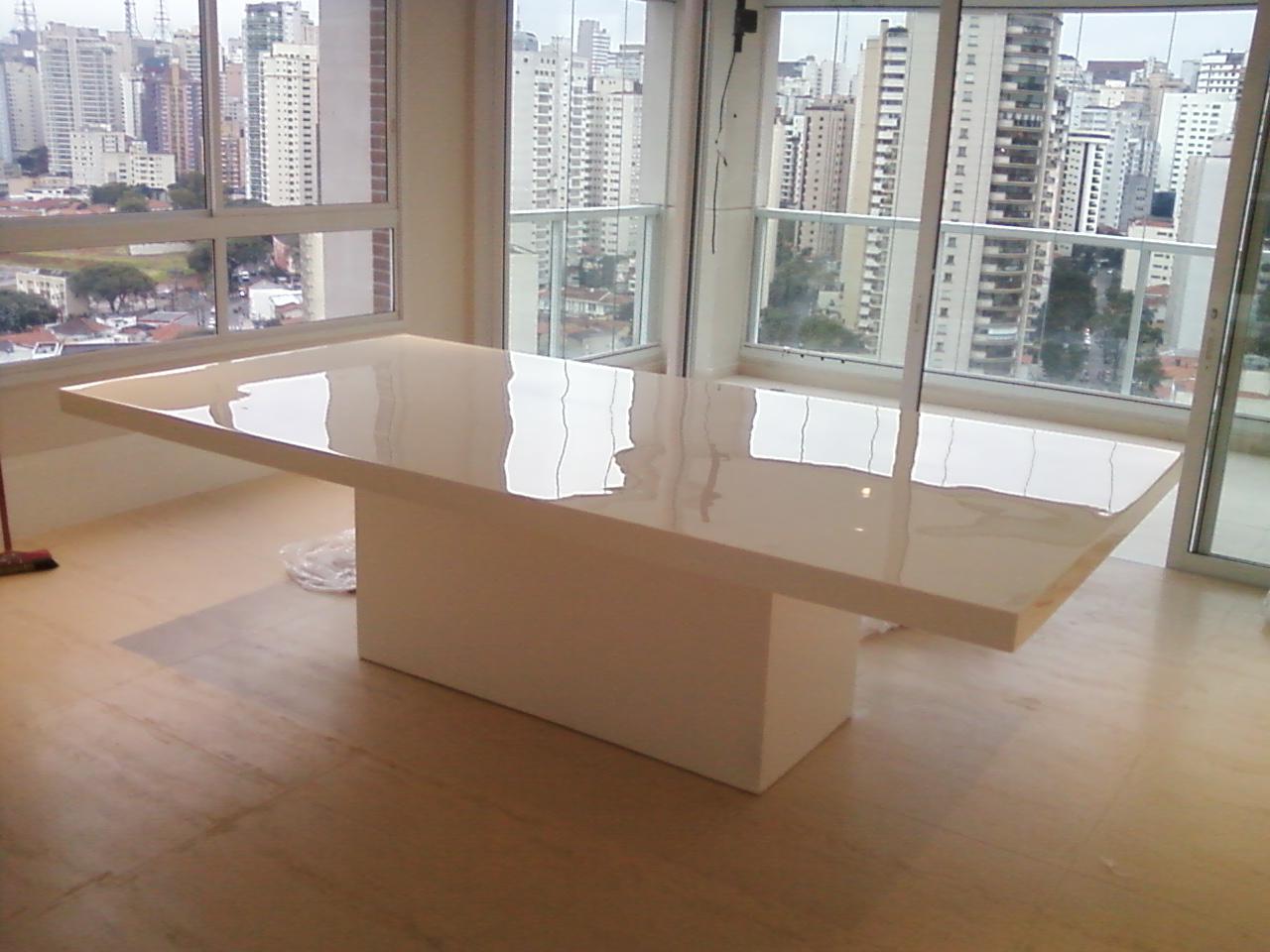 Sala De Jantar Resina Branca ~ Moveis de Alto Padrão Mesa de Jantar em resina modelo Simetria