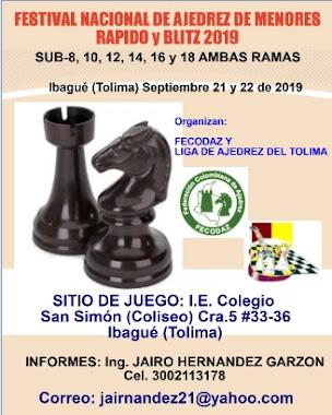 Festival Nacional de Ajedrez MENORES Rapido y Blitz 2019 (Dar clic a la imagen)