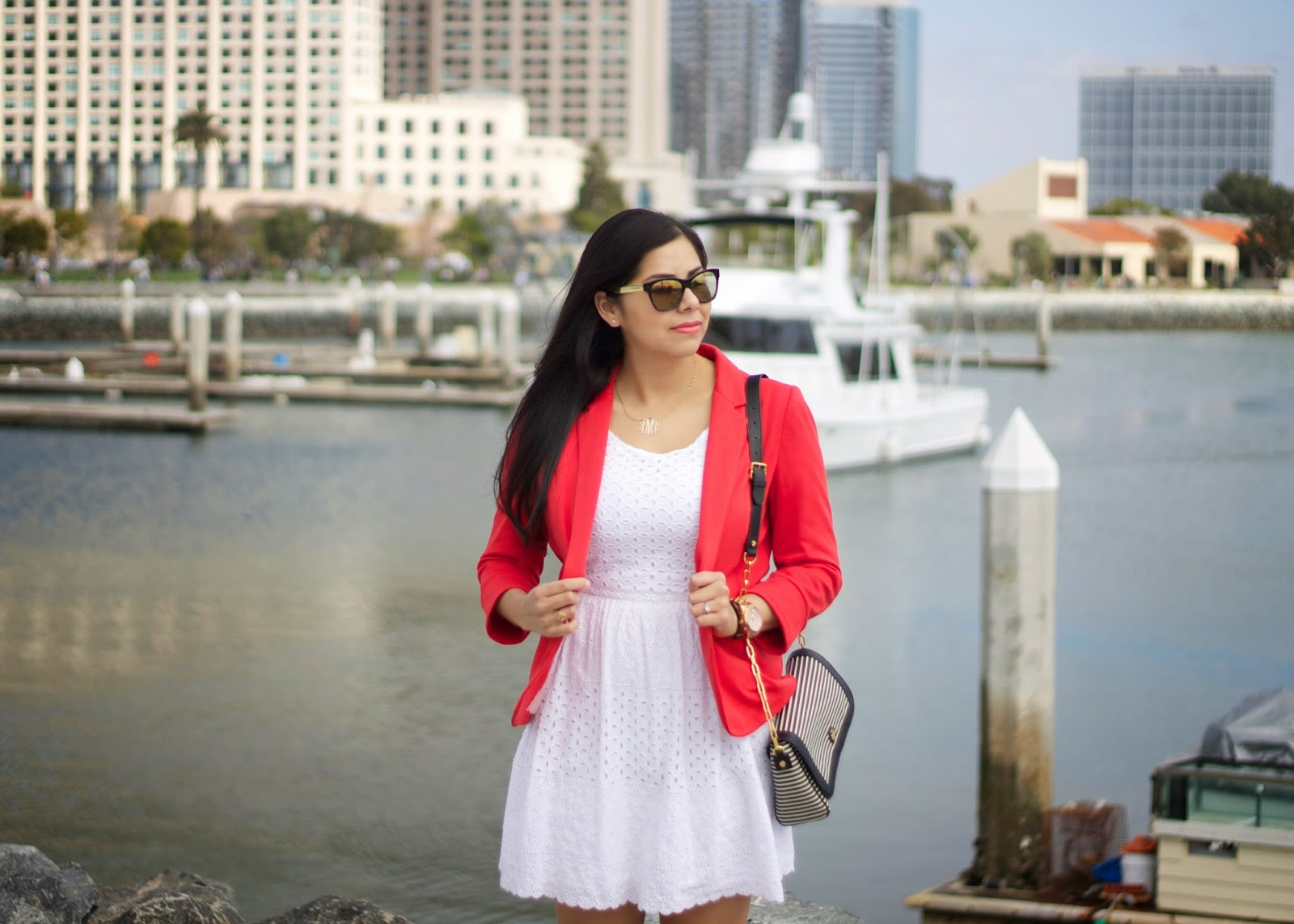 Outfit by the San Diego bay, OOTD in San Diego, White eyelet dress, white fit and flare dress