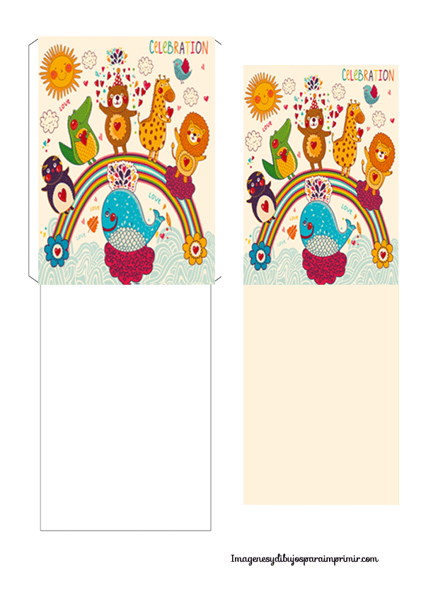Sobres y tarjetas infantiles para imprimir