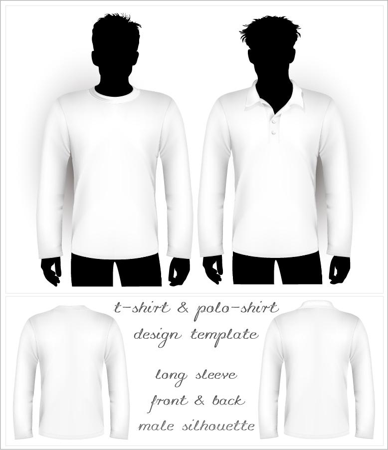 インナーシャツ デザイン テンプレート blank tshirt and polo shirt vector イラスト素材4