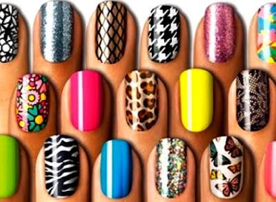 Diseño de uñas de varios colores para escoger