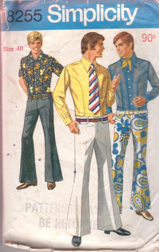 Simplicity-8255-1970s-mens-flares-shirt