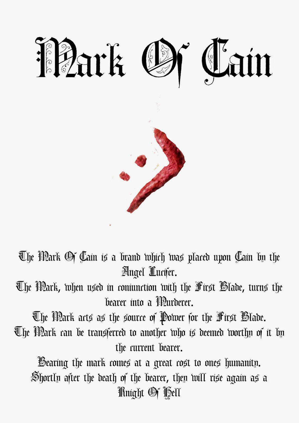 Book Of Shadows Pages: The First Blade / Mark Of Cain