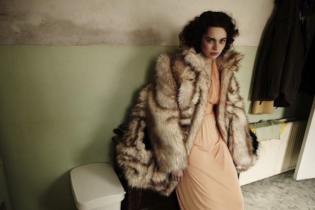 vintage style fashion fur coat and peach pink dress