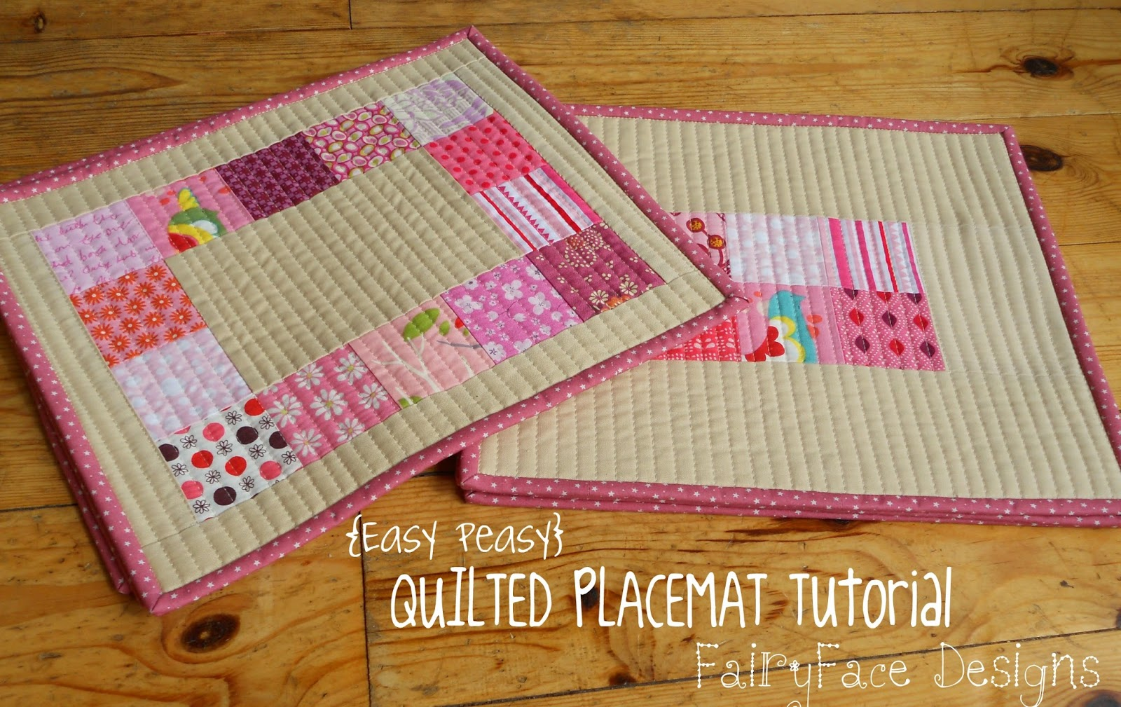 Fairyface designs easy peasy quilted placemats tutorial for Table mats design your own