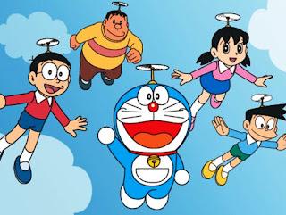 Foto gambar Doraemon dan teman-teman lagi terbang