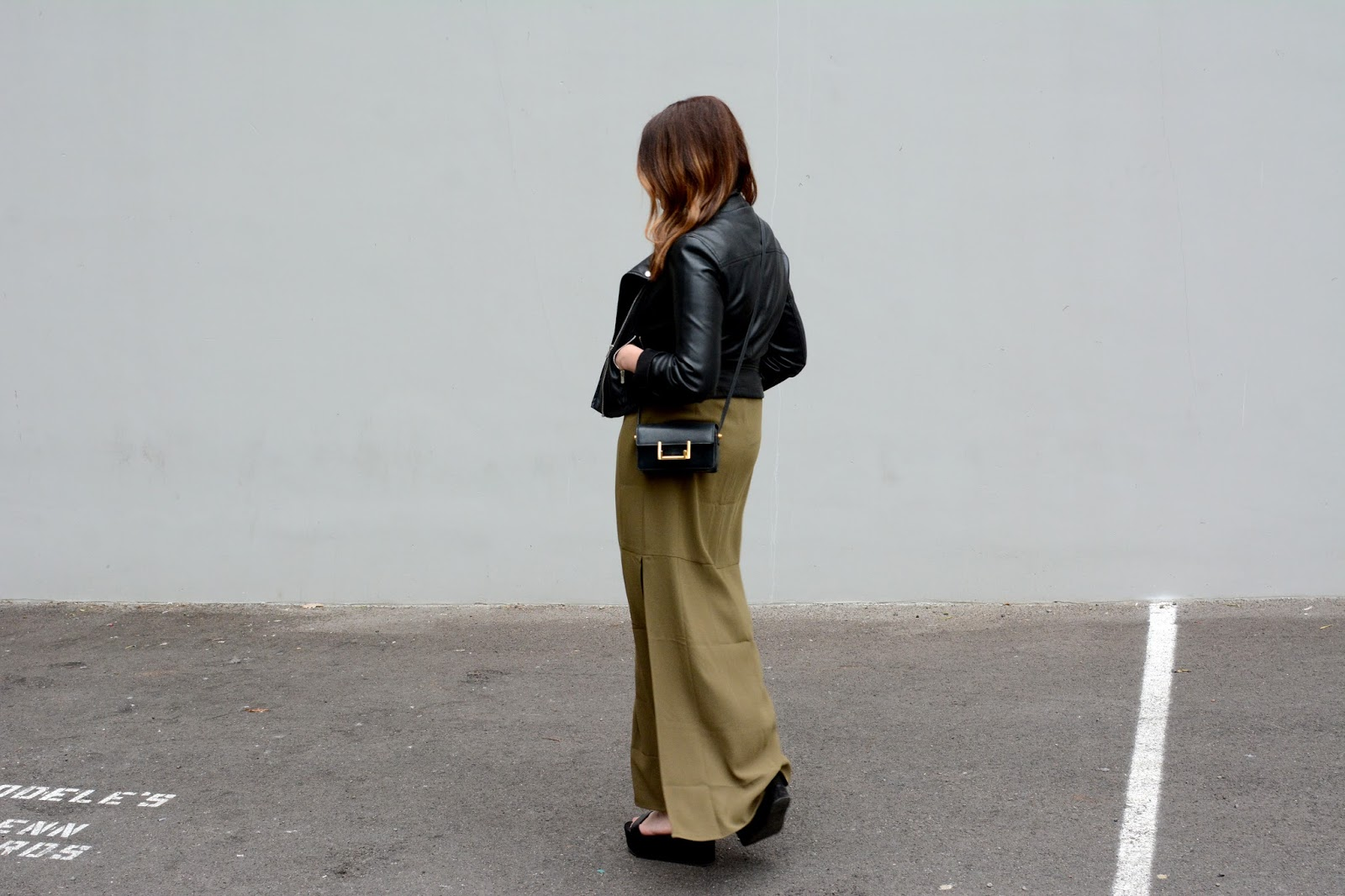 olive maxi dress & leather moto jacket
