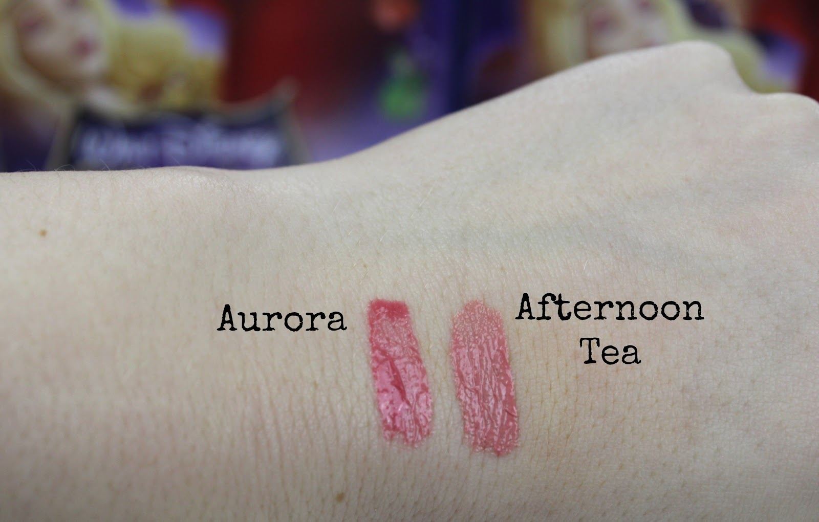 Swatches of Tanya Burr Lips and Nails Lipgloss in Afternoon Tea and Aurora