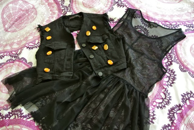 Romace Was Born cropped denim vest, Topshop sheer black dress, sheer black dress, mesh dress