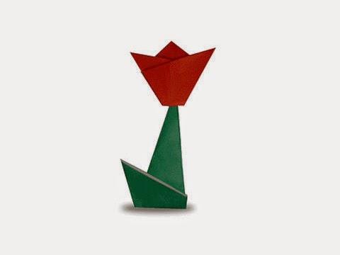 Hướng dẫn cách gấp bông hoa Tulip bằng giấy đơn giản - Xếp hình Origami với Video clip - How to make a Tulip