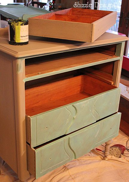 Shizzle Design Repurposed Turquoise Highboy Dresser Serves as