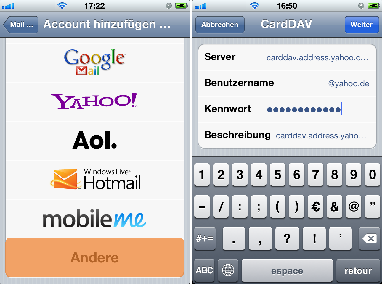 Kontakte auf iPhone mit Yahoo! | iPhone Kontakte