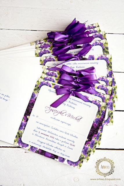 Oryginalne fioletowe zaproszenia ślubne artirea