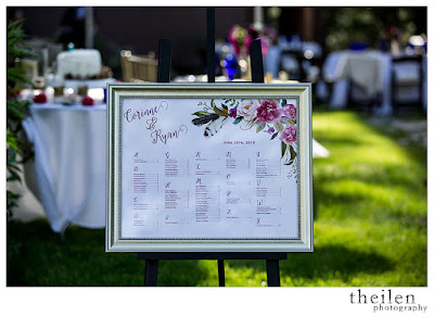 Fuchsia floral wedding seating chart l Theilen Photo l Take the Cake Event Planning