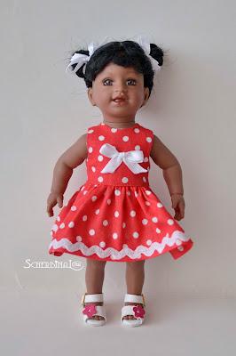 платье для куклы в горошек, Адора, Adora
