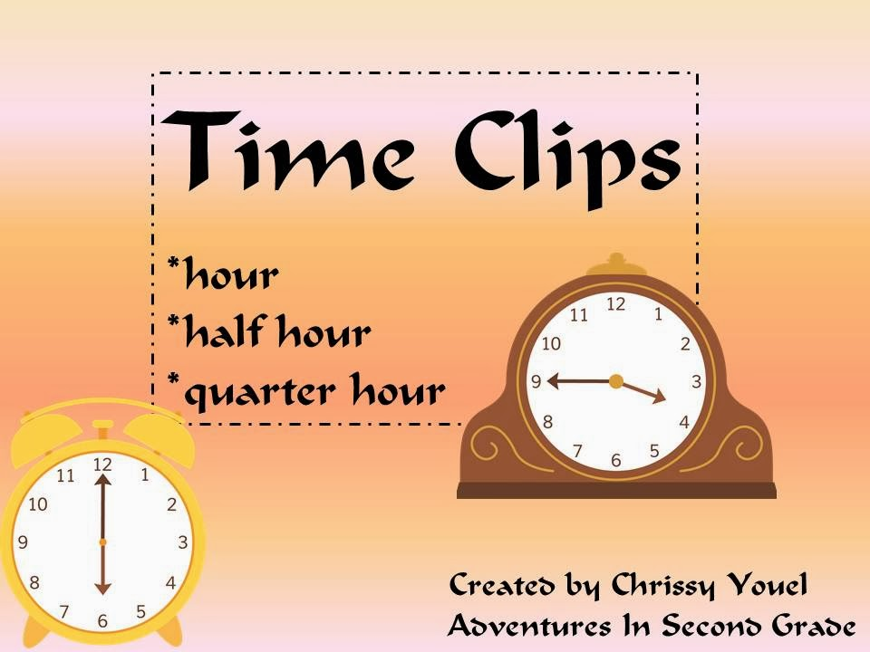 http://www.teacherspayteachers.com/Product/Time-Clips-Time-to-the-Hour-Half-Hour-and-Quarter-Hour-1072749