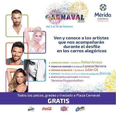artistas carnaval mérida 2016