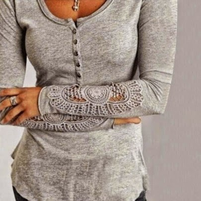 Grey Patchwork Hollow-out Buttons Lace T-Shirt
