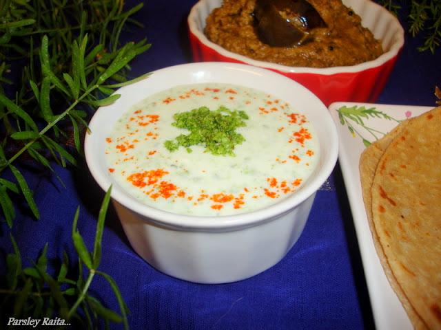 Parsley Raita / Parsley Raita Recipe / Indian Yogurt Sauce Recipe