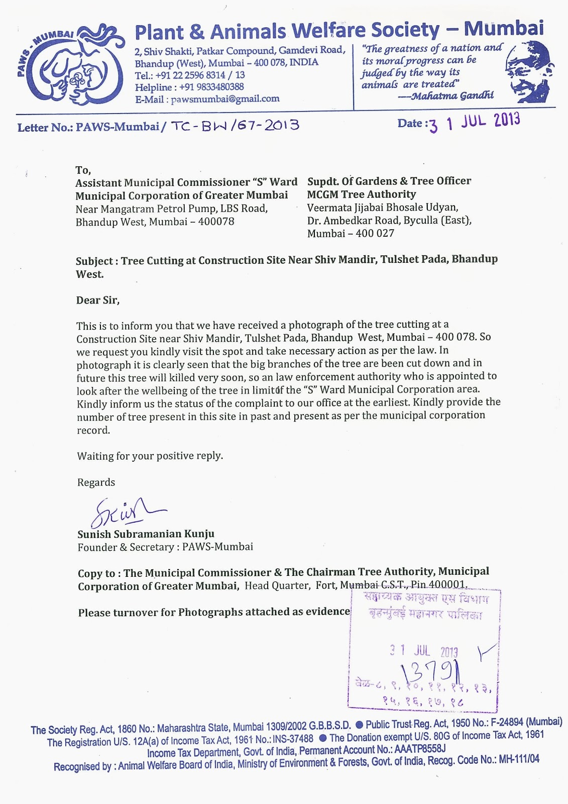Paws mumbai press kit update paws mumbai send suggestion to mcgm copy of tree cutting complaint letter photographs to mcgm s ward spiritdancerdesigns Image collections