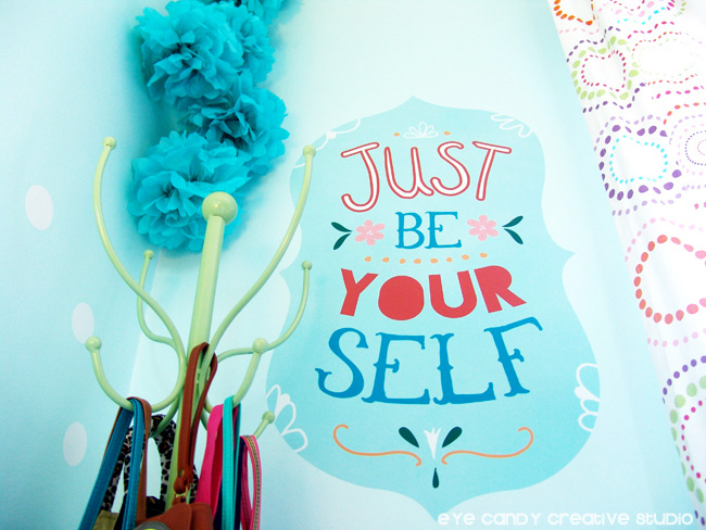 just be yourself wall vinyl graphic, vinyl wall art, tween bedroom decor