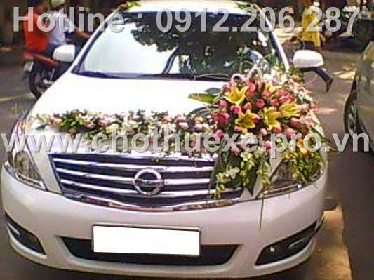 Xe cưới màu trắng Nissan Teana sang trọng trẻ trung